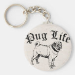Pug Life Funny Dog Gangster Basic Round Button Keychain