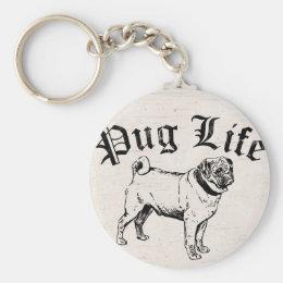 Pug Life Funny Dog Gangster Keychain