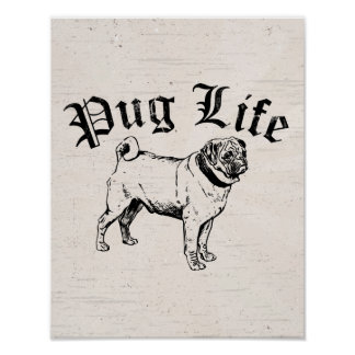 Pug Life Funny Dog Gangster Posters