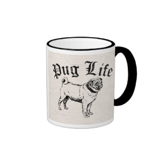 Pug Life Funny Dog Gangster Ringer Mug