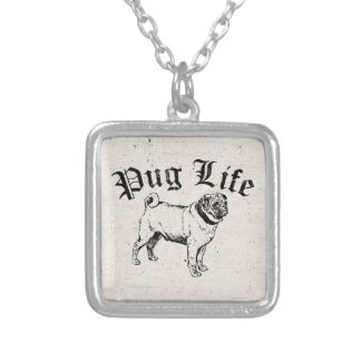 Pug Life Funny Dog Gangster Silver Plated Necklace