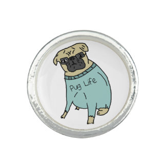 Pug Life - Funny Dog In A Sweater Ring