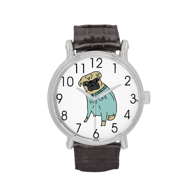 Pug Life - Funny Dog In A Sweater Wrist Watches