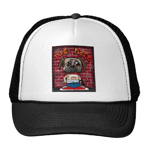 Pug Life products. Cute pug thug products Mesh Hats