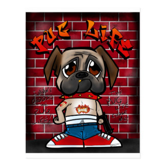 Pug Life products. Cute pug thug products Postcard