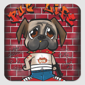 Pug Life products. Cute pug thug products Stickers