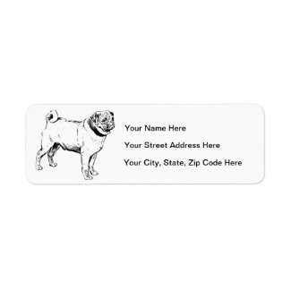 Pug Line Art Custom Return Address Labels