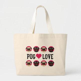 Pug Love Black & Fawn Pugs Canvas Large Tote Bag