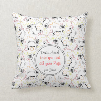 Pug Love Confession Throw Pillow