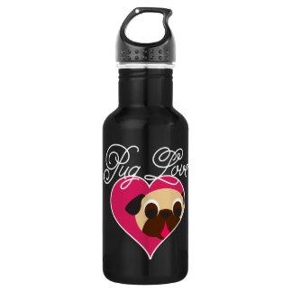 Pug Love Fawn Pug In Heart Water Bottle