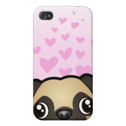 Case Savvy iPhone 4 Matte Finish Case with Pug Phone Cases design