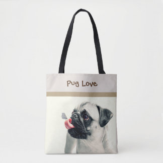 Pug Love - PERSONALIZE - Handbag / Tote