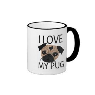 Pug Love! Ringer Coffee Mug