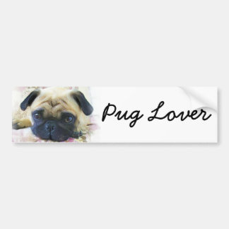 Pug Lover Bumper Sticker Car Bumper Sticker