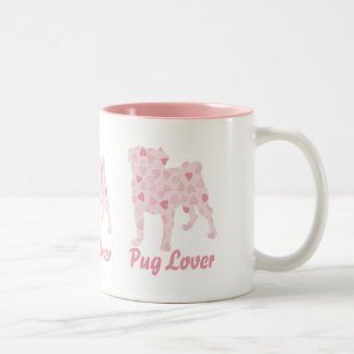 Pug Lover Pink Hearts Two-Tone Coffee Mug
