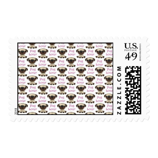 Pug Lover (Pink Text) Postage