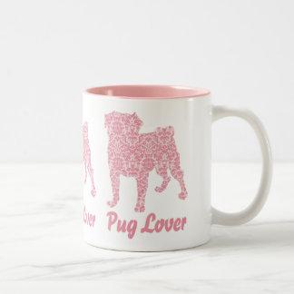Pug Lover Pink Vintage Damask Two-Tone Coffee Mug