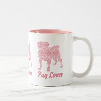 Pug Lover Pink Vintage Two-Tone Coffee Mug