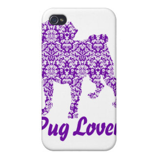 Pug Lover Purple Damask iPhone 4/4S Cover