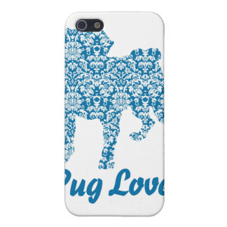 Pug Lover Turquoise Damask Covers For iPhone 5