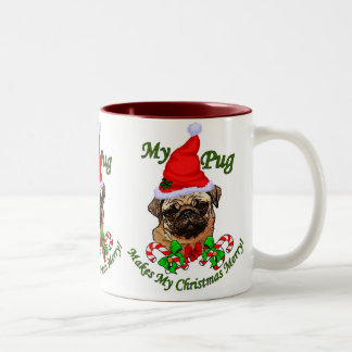 Pug  Lovers Christmas Gifts Two-Tone Coffee Mug