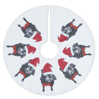 Pug Lovers Santa Dog Christmas Tree Skirts Brushed Polyester Tree Skirt