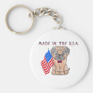 Pug Made In The USA Keychain