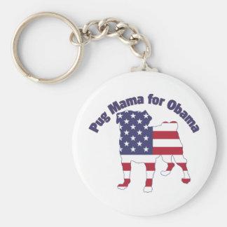 Pug Mama For Obama Pug Silhouette Flag Basic Round Button Keychain