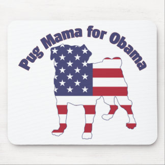 Pug Mama For Obama Pug Silhouette Flag Mouse Pad