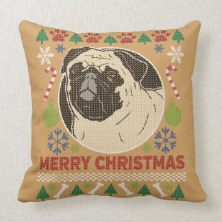 Pug Merry Christmas Ugly Sweater Design Throw Pillow