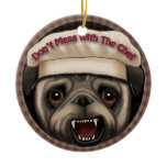 Pug Mess With Chef Ceramic Ornament