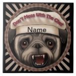 Pug Mess With Chef Ceramic Tile