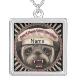 Pug Mess With Chef Silver Plated Necklace