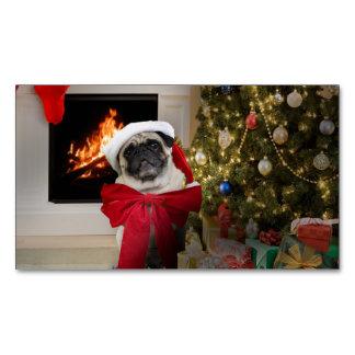 Pug Misha Waiting on Christmas Morning Magnetic Business Card