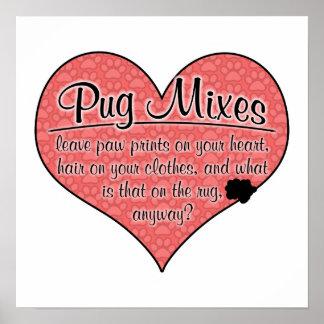 Pug Mixes Paw Prints Dog Humor Posters