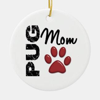 Pug Mom 2 Double-Sided Ceramic Round Christmas Ornament
