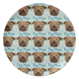 Pug Mom 3 Dinner Plate