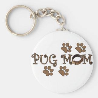 Pug Mom Basic Round Button Keychain