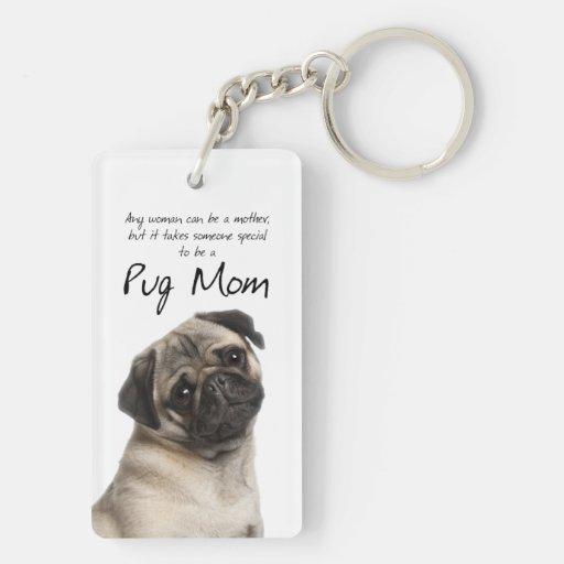 Pug Mom Key Ring Rectangular Acrylic Keychain