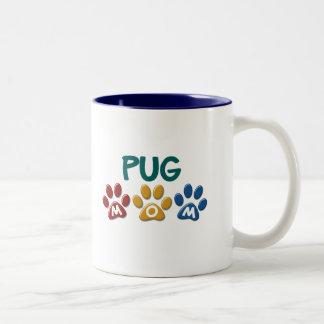 PUG Mom Paw Print 1 Two-Tone Coffee Mug