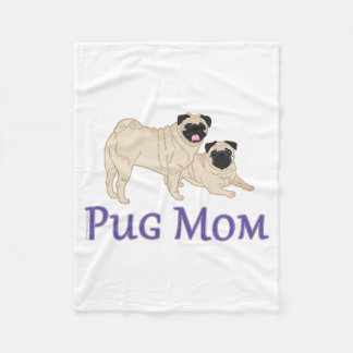 Pug Mom - Pick Your Custom Color Fleece Blanket