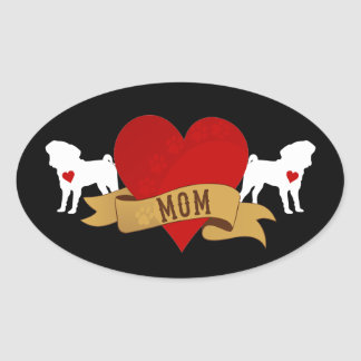 Pug Mom [Tattoo style] Oval Sticker