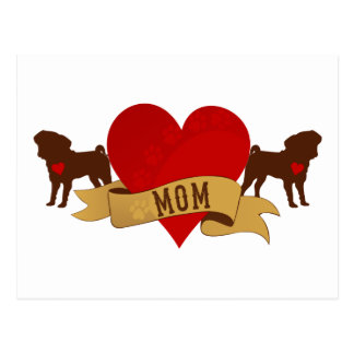 Pug Mom [Tattoo style] Postcard