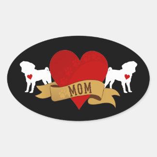 Pug Mom [Tattoo style] Oval Sticker