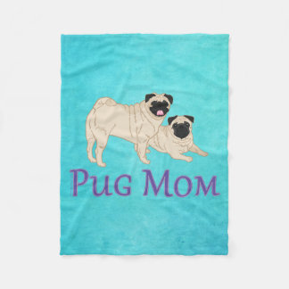 Pug Mom Two Fawn Pugs Dog Lover Fleece Blanket