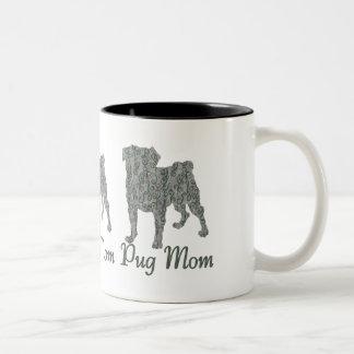 Pug Mom VIntage Gray Lace Two-Tone Coffee Mug