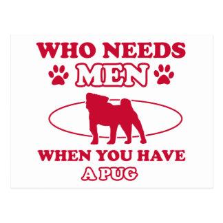 pug mommy design postcard