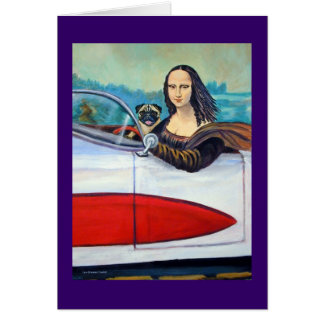 Pug & Mona Lisa in Corvette Cards