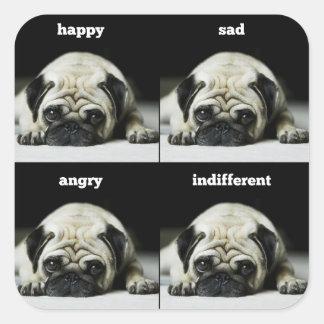 Pug Moods Pug Portrait Square Stickers