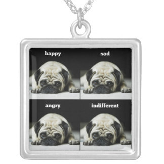 Pug Moods Silver Square Pendant Necklace